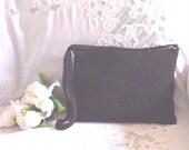 Vintage 1960s  Large Black Crochet Shoulder Bag Purse