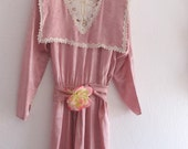 Vintage Tea Rose Victorian Style Satin Lace Dress