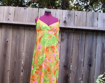 Water Color Floral Crepe Orange Green BabyDoll  Slip Dress