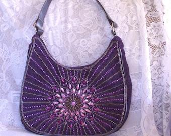 Vintage Purple faux Suede Beaded Shoulder Bag Purse