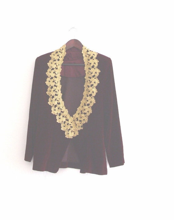 Sale Victorian Gothic Jacket/  Royal Maroon Velvet  Gold/ Prom Jacket