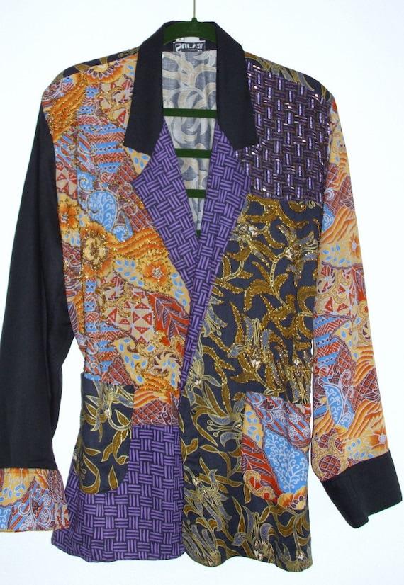 Vintage Bohemian Beaded Batik Patchwork Jacket Gypsy Beaded Color-Block Purple Yellow Floral