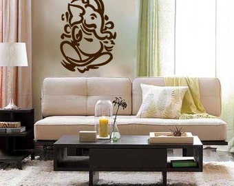 Lord Ganesh vinyl Wall DECAL- Hindi Hindu India interior design, sticker art, room, home and business decor