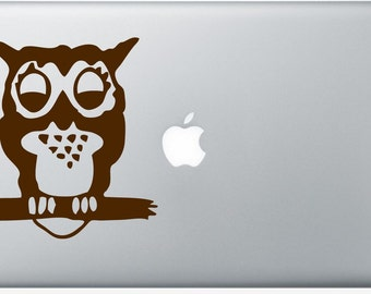 Owl with Apple moon DECAL- macbook iPad computer- animal bird vinyl sticker