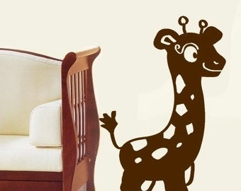 Baby Giraffe vinyl Wall DECAL- Animal interior design, sticker art, room, home and business decor