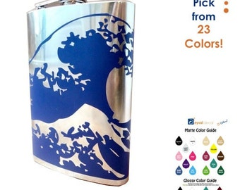 FLASK- Kanagawa Ocean Wave- whiskey, liquor, wedding, bridal party- Personalized- You pick Color