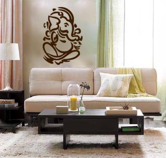 Lord ganesh vinyl wall decal hindi hindu india interior - Wall sculptures for living room india ...