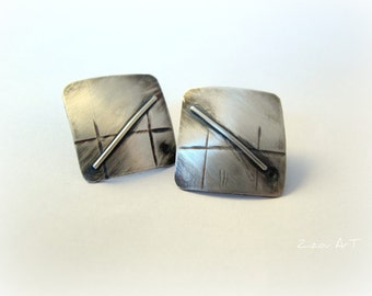 Silver stud earrings, minimalist, contemporary, modern,  gift idea for her.