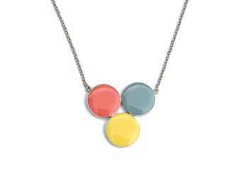 The Geo Necklace 06, geometric necklace, colorful pendant, geometric accessories