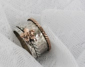 Sterling silver gold spinner ring. Rose gold spinner ring. Floral spinner ring. Wide spinner ring. (gsr-7009). birthday gift ideas