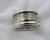 Spinner ring. Sterling silver gold unisex spinner ring (gsr-7053)wide spinner ring, Men spinner ring. Textured spinner ring