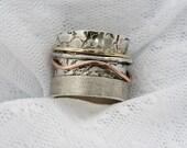 Spinner ring. Wide spinner ring. Sterling silver spinner ring. Gold spinner ring (gsr-7060). gift for her, unisex spinner ring