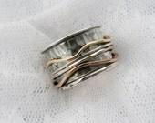 Sterling silver spinner ring. Gold spinner ring. Mix spinner ring. Wide spinner ring. (gsr-7069). birthday gift ideas, unisex spinner ring