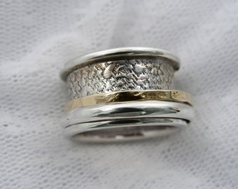 Spinner ring. Sterling silver gold unisex spinner ring.wide spinner ring, Men spinner ring. Textured spinner ring (gsr-7053-970-969-961-958)