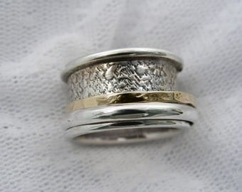 Spinner ring. Sterling silver gold ,unisex spinner ring. wide spinner ring, Men spinner ring. Textured spinner ring ,lazy ring