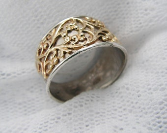 Lace ring, silver gold ring. Floral gold ring. Lace gold ring. Sterling silver ring. Wide gold ring. gold silver ring (gsr-7077-979A+B).