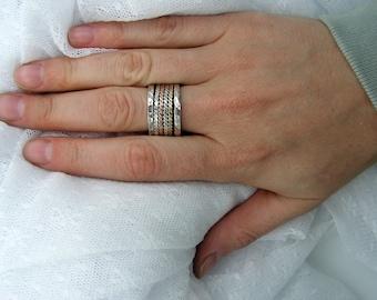 Spinner ring. Rose yellow gold silver spinner ring . unisex spinner ring, birthday gift ideas, gift for him (gsr-7011-515-516-565)