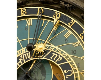 Astrological Clock - Matted photograph of the historic clock in the old town center of Prague, Czech Republic