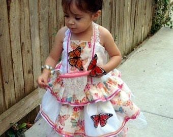 Pageant baby toddler OOC Chenille Summer wear butterfly Sassy Natural pageant casual wear talent wear custom  12m  up to 10 yrs