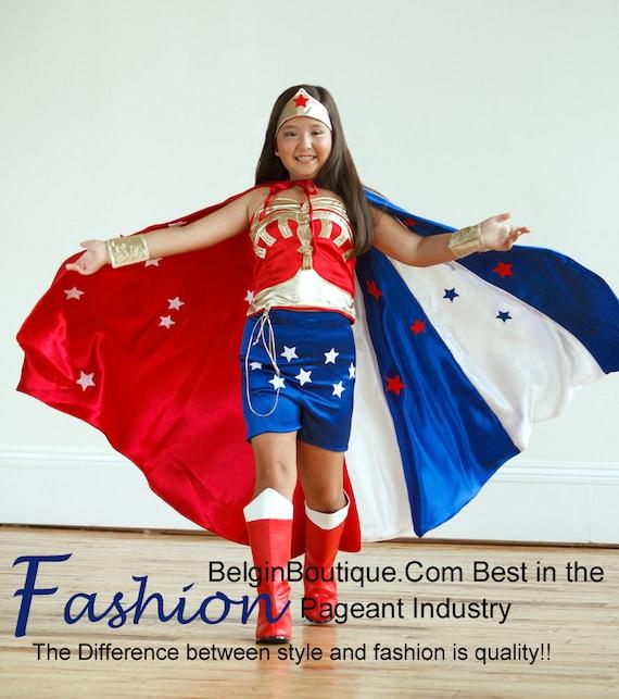 Pagean Wonder Woman Justice League costume OOC American National Costume Glitz talent wear celebrity Cosplay Halloween Custom 12m  10 yr