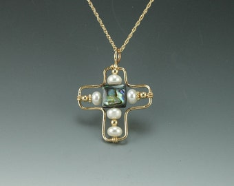 Yellow Gold Filled Cross Pendant with Pearls and Abalone