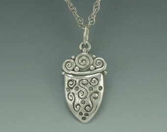 P442- Sterling Silver Engraved Pendant- One of a Kind