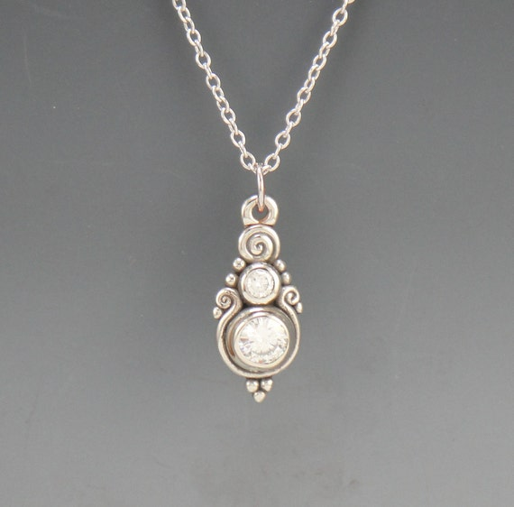 Beautiful 14k White Gold Moissanite Pendant- One of a kind