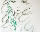 "Fantasy Drawing Illustration of my Original Pencil Drawing She's called ""Wall Flower"""