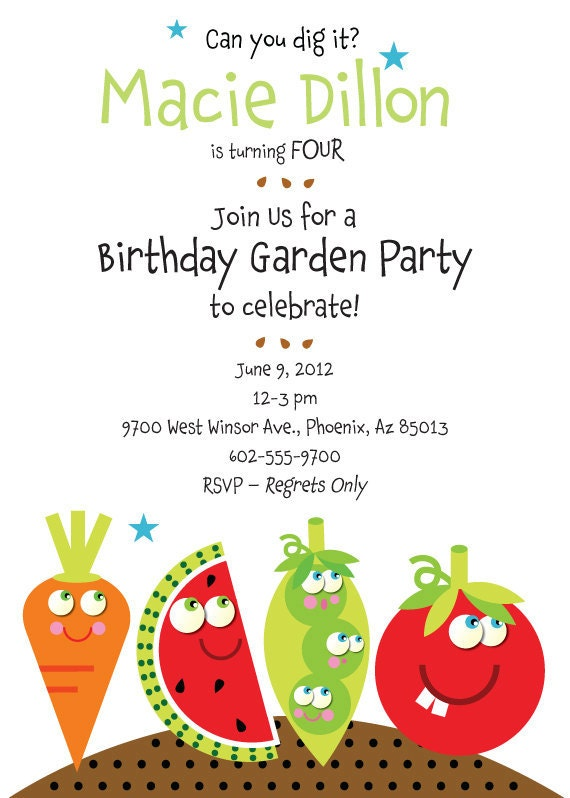 birthday garden party invitation with vegetables for by tbonesquid. Black Bedroom Furniture Sets. Home Design Ideas
