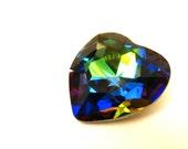 VITRAIL MEDIUM - Large Rainbow Vitrail Green & Blue Prismatic Heart Shaped Crystal - 28mm