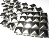 50 Large Silver Pyramid Studs - 11mm x 11mm - Square Peaked Studs, Bright Shiny Silver, 4 Prongs - DIY Fashion Design Supplies