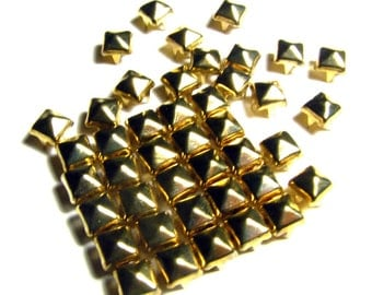 100 Small Gold Pyramid Studs - 6mm x 6mm Square Peaked 4 Pronged Bright Yellow Gold Studs - Ships From US - Leather, DIY, Punk Rock Supply