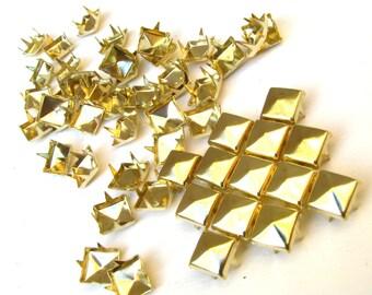 100 Medium Gold Pyramid Studs - 8mm x 8mm - Bright Yellow Square Peaked Studs, 4 Pronged Back - DIY Fashion Design Supplies