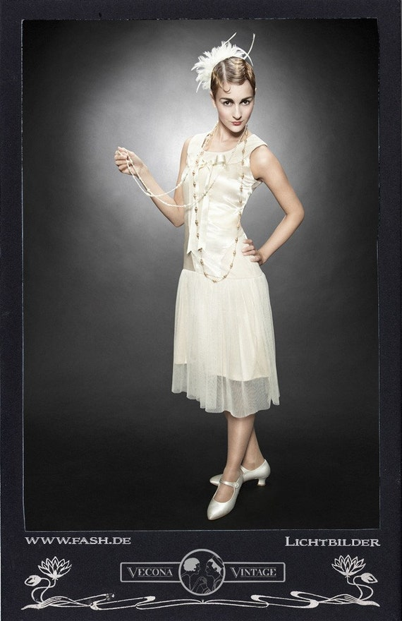 Charleston Flapper Dress 20s Vecona Vintage 1920 party satin tulle