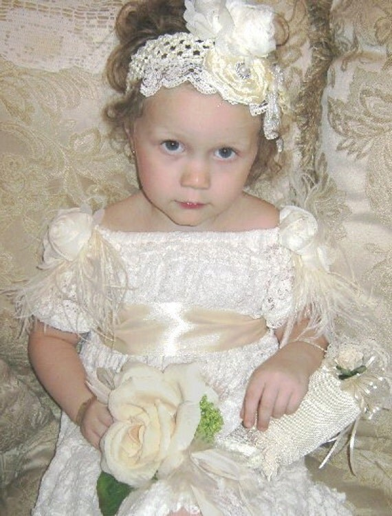 Wedding Victorian Girls Headband Feather pearls Flower Lace  Hair Accessories