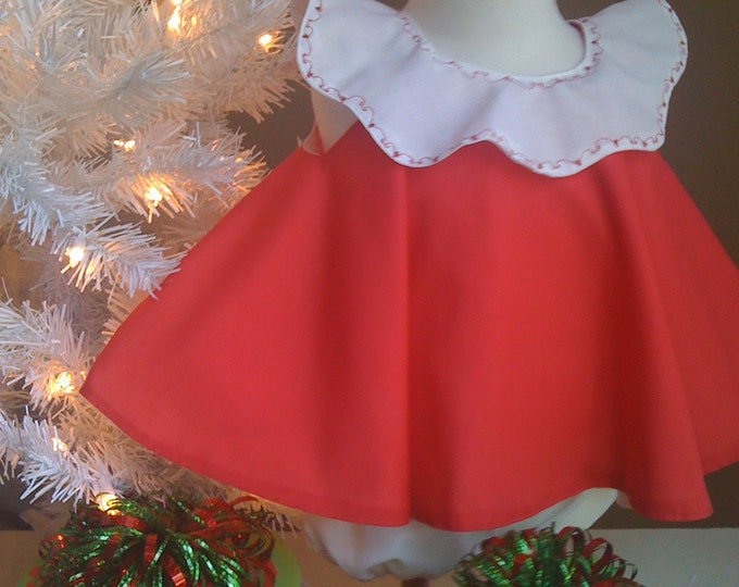 Girls Christmas Dress & Ruffled Bloomers Girls baby Toddler  Red and white 2 pc