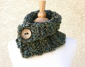 MOCHA SKY COWL with Coconut Button -  Soft Scarf - multicolor brown, blue, tan and green