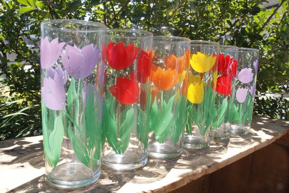 Vintage Spring Tulip Iced Tea Glasses, Set of 6 (E32)