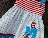 Personalized Cat in the Hat Fabric Dress//Thing 1 and Thing 2//Dr. Seuss//monogram//Birthday Party dress//sizes 12 mo.-3T