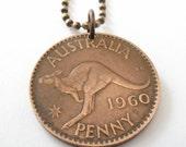 kangaroo necklace . coin jewelry. AUSTRALIA  KANGAROO coin necklace Pendant . australian . penny necklace. choose YEAR  . No.00680