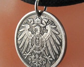 antique GERMAN COIN NECKLACE 10 pfennig Germany Deutschland Charm Pendant. vintage. spread eagle. eco-friendly.bird. reich. No.00611