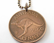 kangaroo necklace . coin jewelry. AUSTRALIA  KANGAROO coin necklace Pendant . australian . penny necklace. choose YEAR  . No.00680