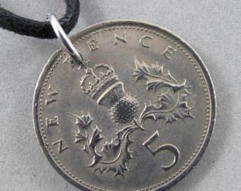 ENGLAND COIN necklace 5 Pence 5p English British coin pendant sterling silver bail year 1975 No.00726