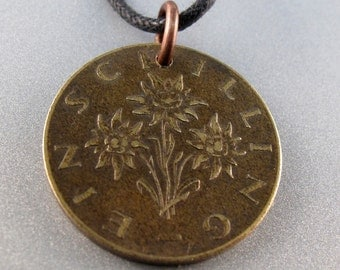 SOUND OF MUSIC necklace charm pendant  Austria shilling Edelweiss Flower coin . 1959 to 1997  1980 1988 etc No.00367