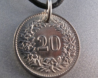 SWITZERLAND necklace . coin charm pendant.  SWISS  gift. Helvetica charm pendant . swiss coin. number  20.  NO.00380