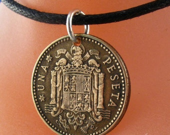 SPANISH COIN NECKLACE. spain coin jewelry. una 1 peseta coin necklace.  Franco Caudillo. mans necklace. mens jewelry  No.001060