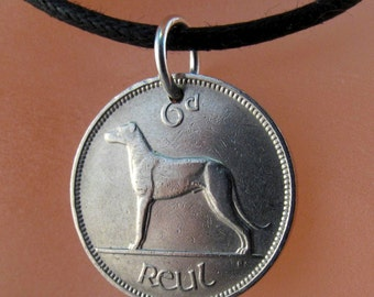 dog necklace - irish  coin necklace -  ireland coin jewelry -  wolfhound eire Charm  - mens necklace  No.00782
