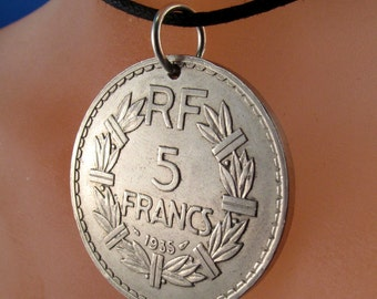coin jewelry. FRANCE coin necklace.  FRENCH coin.1935.  republique francaise Pendant. vintage coins  No.001077