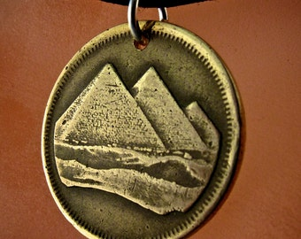 EGYPT NECKLACE.  coin necklace. coin jewelry.  pyramids giza.  piastres. Egyptian necklace.  middle east. sphinx .  No.001079