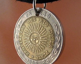 COIN NECKLACE ARGENTINA . coin jewelry pendant.  peso . lucernae . sun face. South America  No.001109